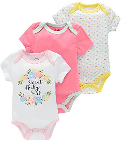 Bestele - Body de manga corta para bebé para niño, niña, unisex, de algodón, pijama 3 x Set de 5 unidades 0-3 meses