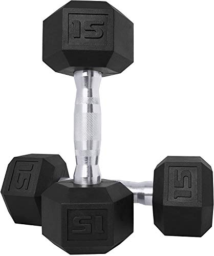 CAP Barbell Set of 2 Hex Rubber Dumbbell with Metal Handles, Pair of 2 Heavy Dumbbells Choose Weight (5lb, 8lb, 10lb, 15lb, 20 Lb, 25lb, 30lb, 35lb, 40lb, 50lb) (15lb x 2)