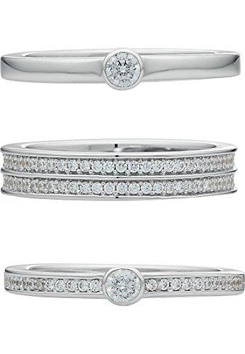 JETTE Silver Damen-Damenring 925er Silber 140 Zirkonia 57 Silber 32005210