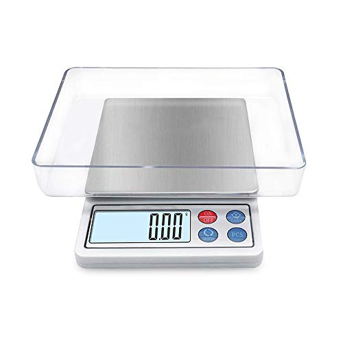 Digital Gram Scale Toprime Mini Size Food Scale 600g x 0.01g High Precision Pocket Scale with LCD display and 1 Tray Stainless Steel PCS Convert Unit White