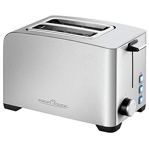 ProfiCook PC-TA 1082 Toaster, Edelstahlgehäuse, Brötchenaufsatz, stufenlos einstellbarer Bräunungsgrad, Zentrierfunktion, Krümelschublade