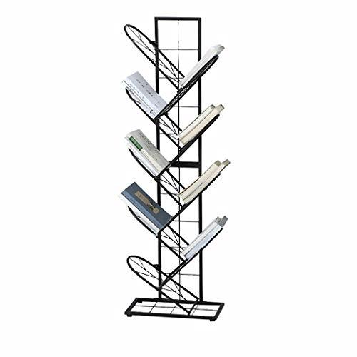 Cdbl Wand-boekenkast, zwart boekenrek, van smeedijzeren rek, meerlaags boekenrek, creatief bokenrek, magazijnrek, kant-en-klaar onderstel, krantenrek