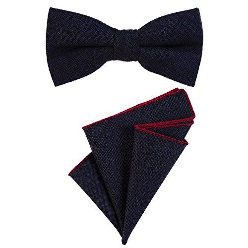 DonDon DonDon Herren Fliege 12 x 6 cm gebunden längenverstellbar und Einstecktuch 23 x 23 cm farblich passend aus Baumwolle dunkelblau
