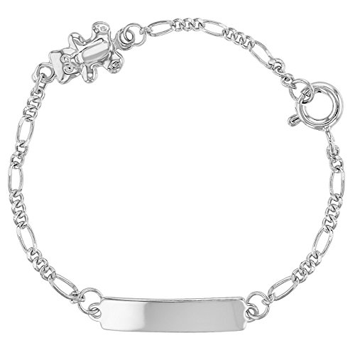 925 Sterling Silver Little Teddy Bear Tag ID Identification Bracelet for Baby 5'