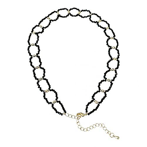 N/A Collar Pequeño Círculo Collar De Cristal Negro Collar Femenino Cadena De Clavícula Collar Corto Anillo Viento Frío Regalo Parejas Y Amigos