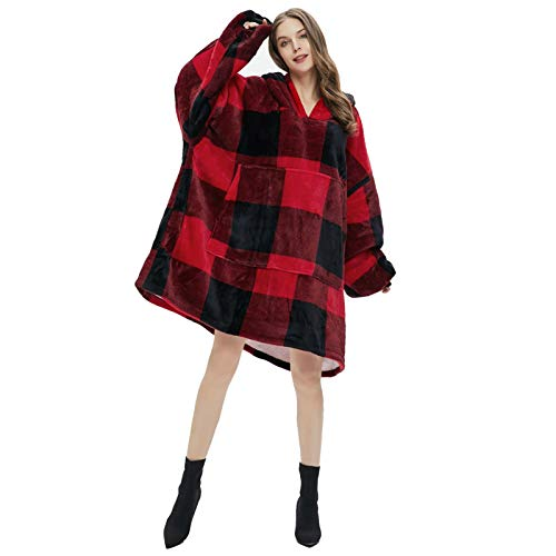 Christmas Black and Red Plaid Pattern Oversize Hooded Blanket Office Sofa Watching TV Comfortable Warm Cloak Hoodie
