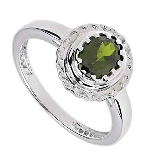 Yvesse Damen Solitär Ring 925/- Sterlingsilber rhodiniert Chromdiopsid grün RW19