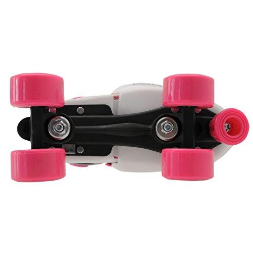 No Fear Kids Quad Skates Girls Skate Shoes Rollers Wheeled White/Pink UK 1 - 4