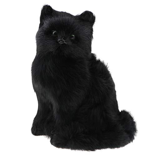 F Fityle 1pcs Realistische Plüschtier Katze, Kuscheltier Haustier Haustier Spielzeug, Haus Dekoration - Schwarz