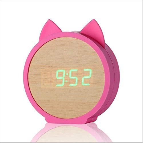 ZJZ Led-houten wekker, digitale wekker, eenvoudige bediening met snooze-functie, bedlampje met helderheid, instelbaar voor slaapkamer