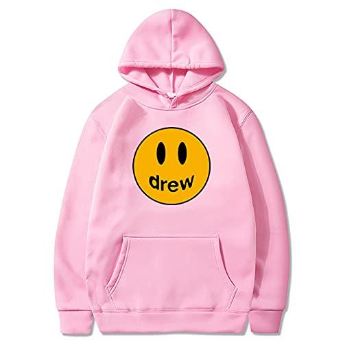 Drew Ju-Stin Bi-Eber Hoodies für Männer Frauen Teenager, Unisex Fans Pullover Hooded Sweatshirts,Rosa,M