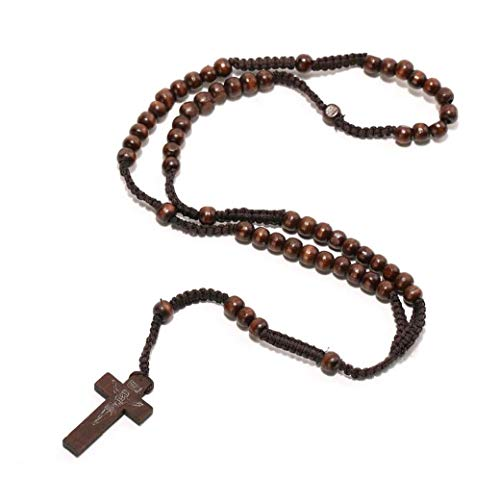 Cadena Gargantilla De Madera Collares De Cuentas Cruzada Religiosa Colgante del Collar del Suéter Hombres Mujeres Cuello Joyería