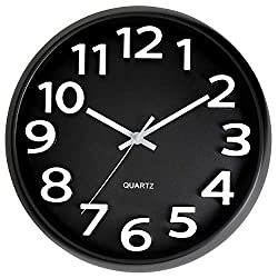 Bernhard Products Black Wall Clock 13 Inch Silent Non-Ticking Large Battery Operated Easy to Read Round Modern Stylish Quartz Clocks for Office Kitchen Living Room Classroom School, White Numbers