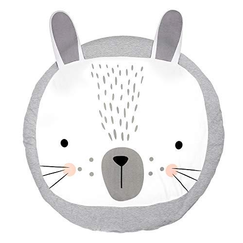 Baumwolle Krabbeldecke groß und weich gepolstert 90 x 90cm für Baby Kinder (Kaninchen)