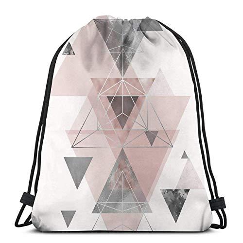 Lsjuee Bolso de Hombro con cordón Abstract Geo In Blush Pink and Grey Mochila Bolsa de Deporte Mochilas de Cuerdas Mochila Escolar Gimnasio Ligero