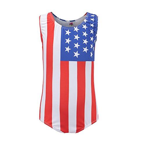 Kql Gymnastics Leotards For Girls Kids USA Flag Ballet Dancewear Star 5-14Y Training Costumes (Tag 10 For 9-10Y, A USA Flag)