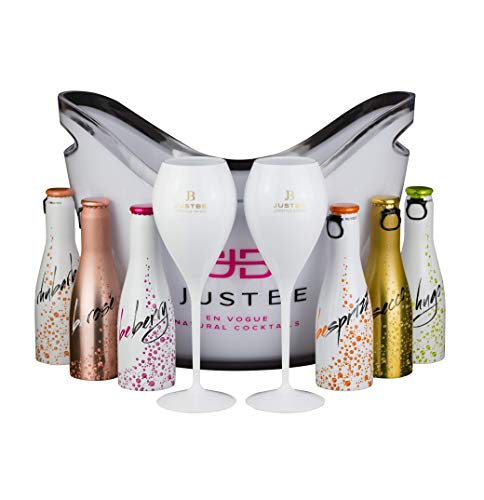 JUST BE Geschenke-Set Wein-Cocktail Party-Box (S) | 6x Piccolo, 1x Sekt-Kühler, 2x Sekt-Gläser