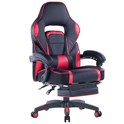 Giantex Ergonomic Gaming Chair, High-Back Racing Chair PU Leather with Retractable Footrest and Lumbar Support Adjusting Swivel Office Chair for Women & Men (Red) chair footrest gaming