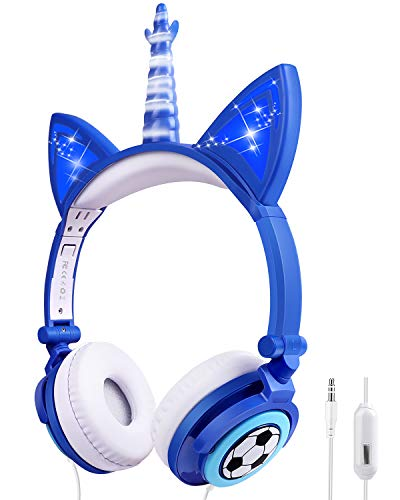 Unicorn Kids Headphones for Girls Boys Toddlers Tablet School Supply Gifts,Light Up Wired Kids Headphones Over On Foldable Adjustable Cat...