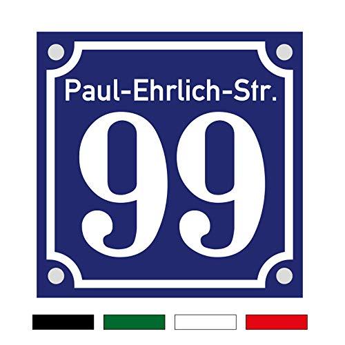3mm Hausnummernschild Hausnummer Straßenname in Emaille Design Alt optl. mit Abstandhalter