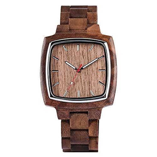 HYLX Reloj de Cuarzo Natural de Madera Real para Hombres, Relojes de Madera Cuadrados de Negocios para Adolescentes, Reloj de Pulsera Informal de Madera para niño