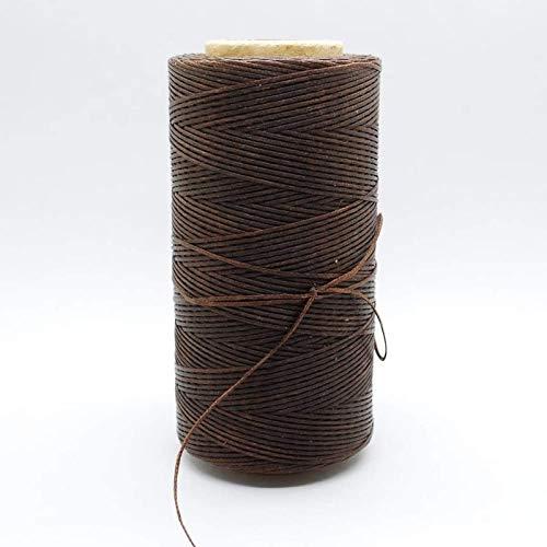 Aiiwqk Hilo de Cera para Coser Cuero de Equipaje de Cuero marrón Oscuro Que no se decolora 150D Cuero de 1 mm Cosido a Mano con Hilo de Cera de Caballo