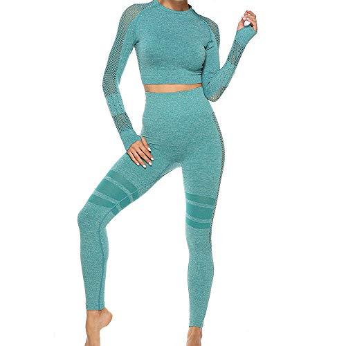 Milkkktt Yoga Sportanzug Damen 2 Stück Trainingsanzug Trainingsoutfits, Sport Yoga Set Langarm Crop Top Yoga Activewear Set Für Frauen Mädchen - Übung Fitness Sportanzug
