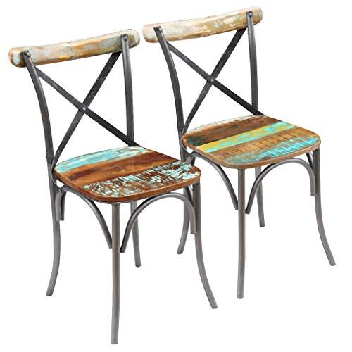 Cikonielf 2 sillas de comedor de madera maciza recuperadas de estilo antiguo con patas de metal, 51 x 52 x 84 cm, diseño del respaldo abierto y cruzado, totalmente hecho a mano