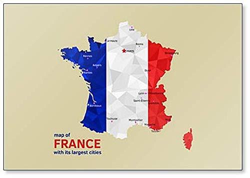 Imán para nevera con diseño de mapa de Francia y ciudades más grandes
