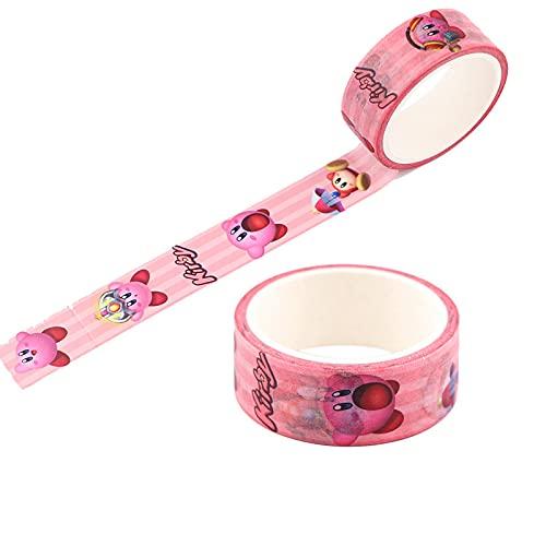 Cinta Decorativa, Kirby Cartoon Set de 5 Rollos de Cinta Washi, Colección de Papel Adhesivo DIY para Scrapbooking Kawaii Stationery, Accesorios para álbumes de Recortes