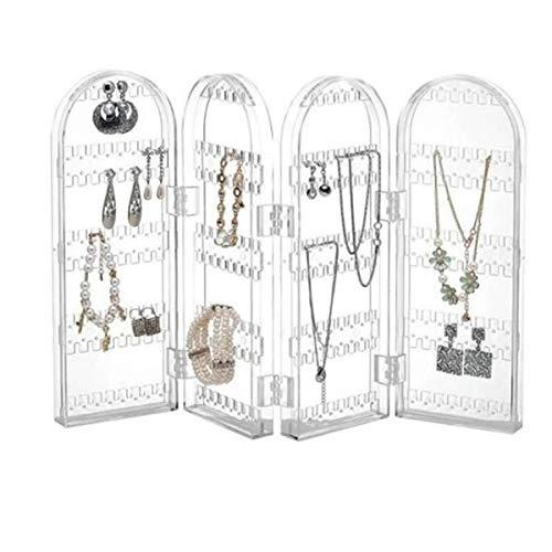 Joyero vertical para pendientes, joyas, 4 puertas, organizador para pendientes, collares, pulseras, soporte de presentación