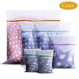 Syllana, confezione da 6 sacchetti per biancheria in rete per vestiti delicati con cernier...