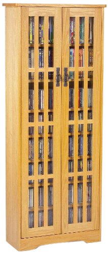 Leslie Dame High-Capacity Inlaid Glass Mission Style Multimedia Storage Cabinet, Oak