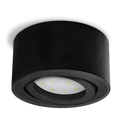 CELI-1B LED Aufbau Deckenstrahler schwarz Alu gebürstet - flach & schwenkbar mit fourSTEP LED 5W neutralweiß Dimmen ohne Dimmer