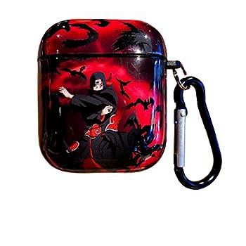 Naruto airpods case,Pain,Uchiha Sasuke,Uchiha Itachi,Uzumaki Naruto Customized Skin TPU airpod case with Keychain Suitable for Apple airpods 2/1  Red
