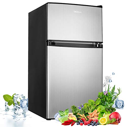 TACKLIFE Mini Fridge with Freezer 32 CuFt Compact Refrigerator 37DB Low Noise 2 Door Mini Fridge with freezer Upright for Dorm Bedroom Office Apartment Silver-MVSFD321