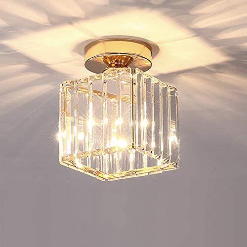 Lámpara de techo de jaula cuadrada, lámpara de pasillo de cristal moderna...