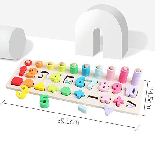 Alexsix Preschool Kids Math Toys Count Geometric Shape Cognition Match Wooden Montessori Toy