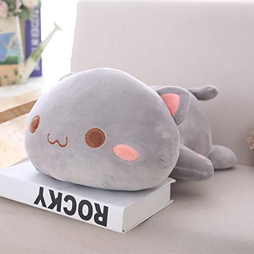 CGDZ 1 stück 35/50 cm Kawaii Liegende Katze Plüschtiere Gefüllte Nette Emoji Katze Puppe Schöne Tier Kissen Weiche Cartoon Kissen Kind grau offenen Augen 35 cm