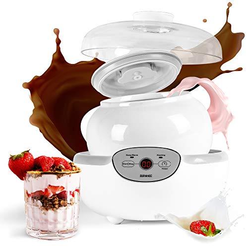 Duronic YM1 Yogurtera con Temporizador 20W con un bol de 1.5L - Panel de Control y Autoapagado - Máquina para hacer Yogur Natural y Casero