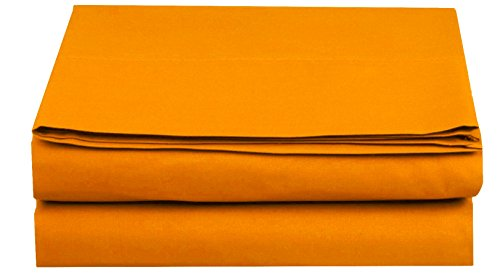 Elegant Comfort Premium Hotel 1-Piece, Luxury and Softest 1500 Thread Count Egyptian Quality Bedding Flat Sheet, Wrinkle-Free, Stain-Resistant 100% Hypoallergenic, Twin/Twin XL, Orange