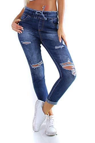 OSAB-Fashion 11240 dames jeans broek haremsjeans elastische tailleband jogging-stijl destroyed scheurbroek streetwear