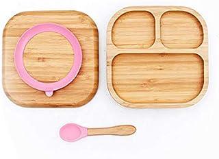 مجموعة أطباق أطفال من لينثي - طقم أواني طعام - أطباق خيزران للأطفال (وردي)
