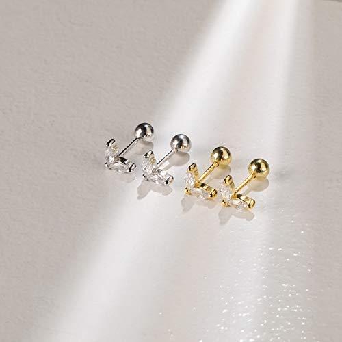 LIEQUAN Pendientes pequeños con botón de Flores Pendientes de Diamantes Joyas para el oído 925 Pendientes de Hueso de Plata para Mujer Mini(Piedra Blanca Dorada)