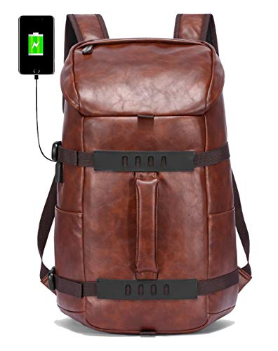 Fur Jaden Anti Theft PU Leather Premium Water Resistant Laptop Backpack Bag with USB Charging Port