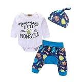 mamelucos para Bebe niño Long Sleeve Letter Bodysuit Cute Cartoon Pants+Hat Outfits Set,Little Monster 12-18 month/100cm