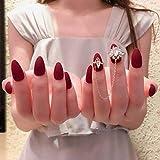 ZHEN 24 Unids/set Pure Color Wine Red Zircon Cadena uñas artificiales Preciosas puntas ovales de cristal grande Presione uñas postizas cortas