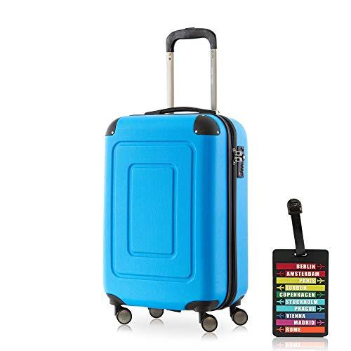 Happy Trolley - Lugano Handgepäck Kabinentrolley Bordgepäck Hartschalen-Koffer Trolley Reisekoffer, sehr leicht, TSA, 55 cm, 40L, Cyan Blau + Design Kofferanhänger