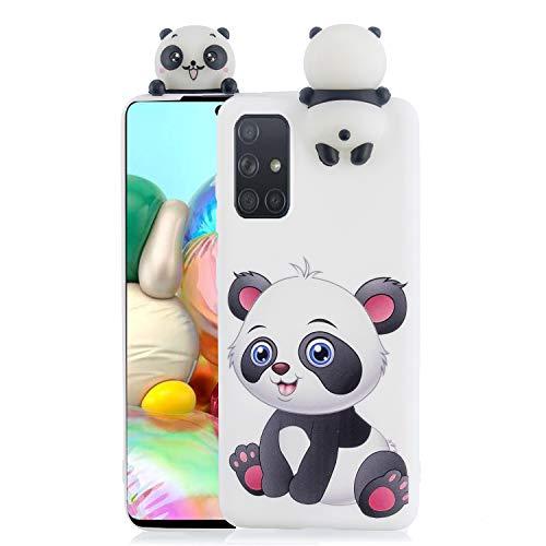 DiaryTown kompatibel mit Samsung Galaxy A51 HandyHülle Silikon Weich Soft Handyhüllen 3D Galaxy A51 Hülle Bunt Muster Schutzhülle Karikatur Hülles DünnStoßfest TPU Handy Hülle (Panda)
