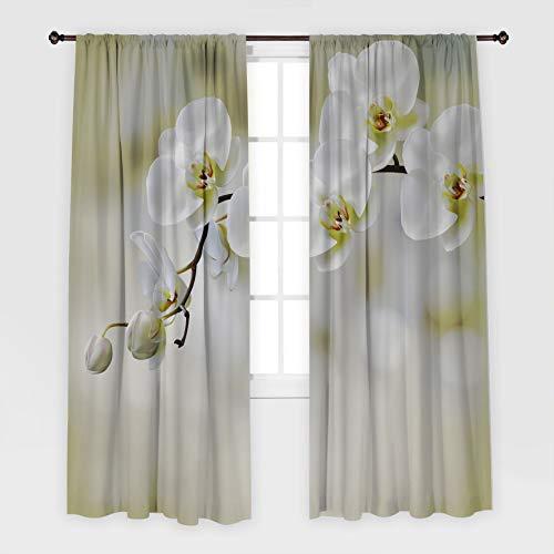 Henge Home Blumen gedruckt Vorhang/Drapes für Wohnzimmer Esszimmer Bett Zimmer 1 Stück/Panel - mehrere Größe Orchidee Zen Spa Thema Nahaufnahme Fo